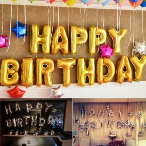 """""""Happy Birthday"""" Foil Balloon Pack of 13 Letters, Gold"""